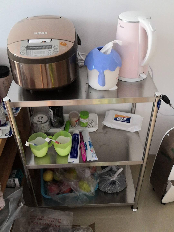 稳纳厨房置物架落地加厚不锈钢收纳橱柜可移动多层多功能微波炉架子家用电器烤箱储物货架B3612