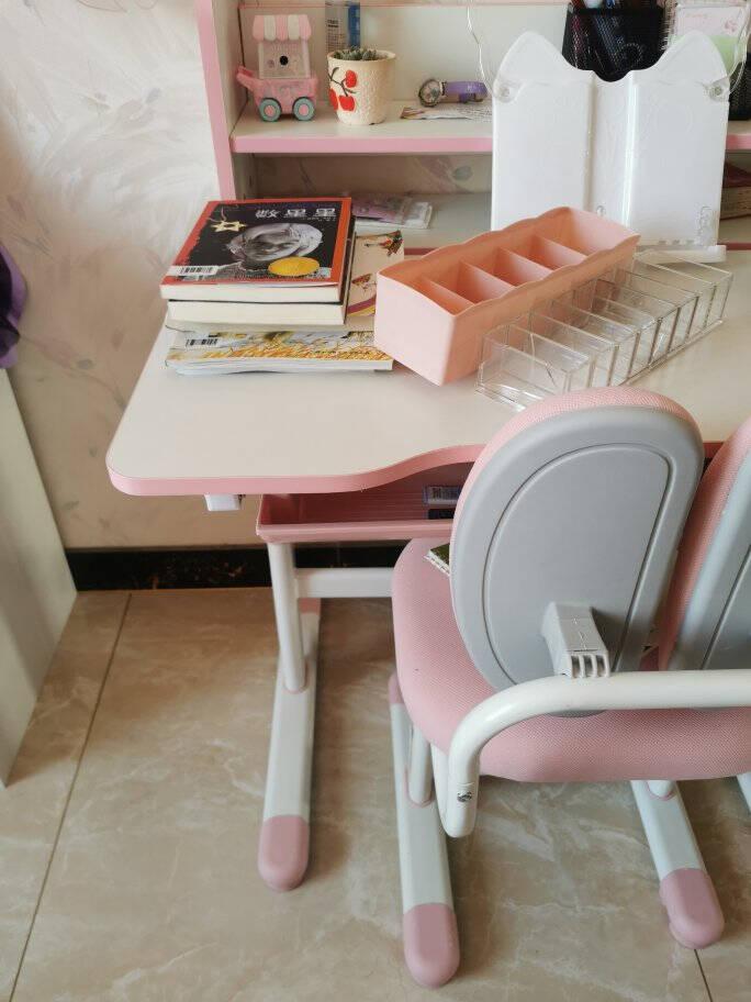益威儿童学习桌椅套装中小学生写字桌椅套装女孩写字台可升降书桌书柜组合男孩儿童学习桌椅-王子蓝-双背款【赠:护眼灯-阅读架】