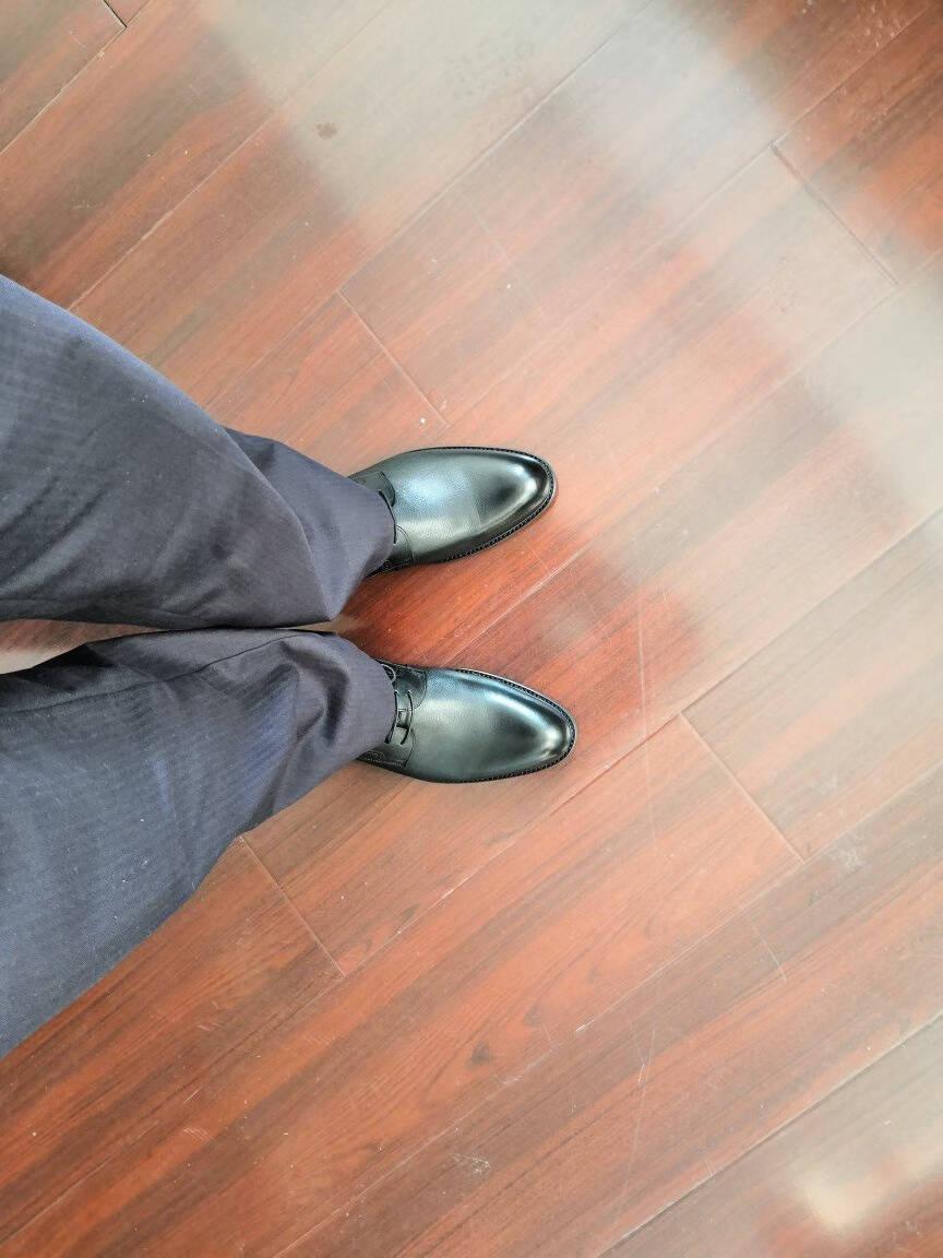 金利来(goldlion)男鞋正装商务休闲鞋舒适轻质透气时尚皮鞋580830571ADA-黑色-40码