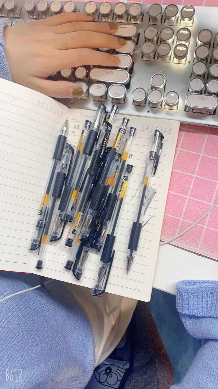最炫(ZUIXUA)文具0.5mm黑色子弹头中性笔经典款商务笔会议笔办公笔碳素笔60支/盒Q7