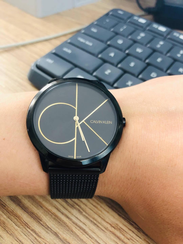 CK卡文克莱(CalvinKlein)Minimal简约系列黑盘黑带男女同款石英手表腕表K3M5245X