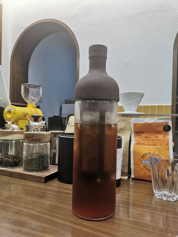 日本HARIO冷萃咖啡壶日本原装进口耐热玻璃冷泡咖啡壶欧式带滤网冷萃卡其色650ml