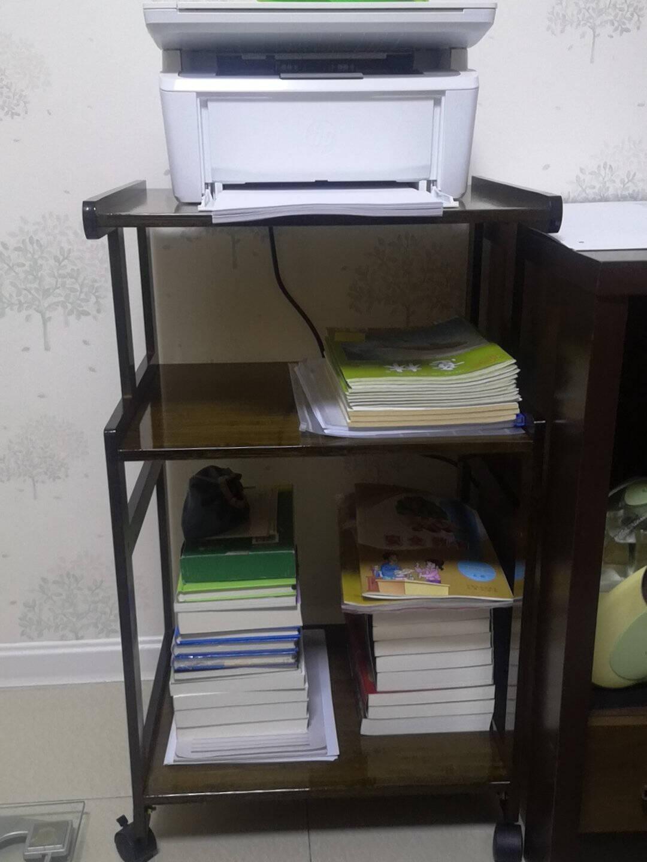 倍方多功能三层可移动置物架胡桃木色打印机桌可移动打印机架一体机机柜工作台打印机复印机底座收纳架