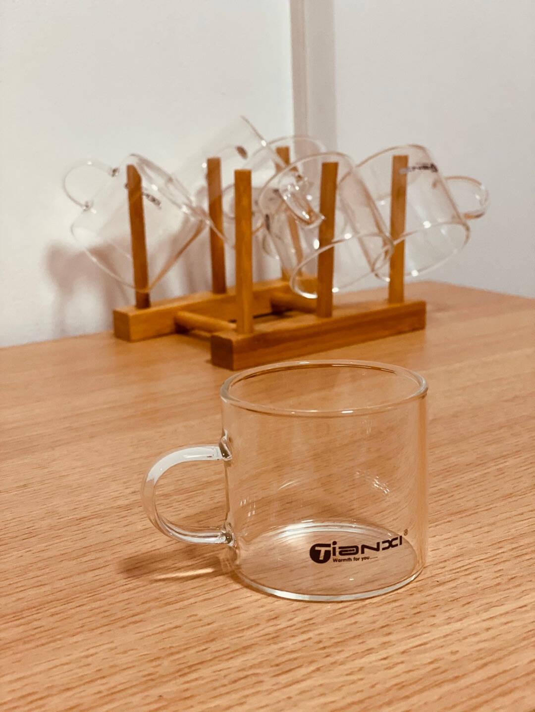 天喜(TIANXI)茶具玻璃小茶杯套组品茗专用功夫花茶杯子高硼硅耐热家居办公水杯6只装+杯架