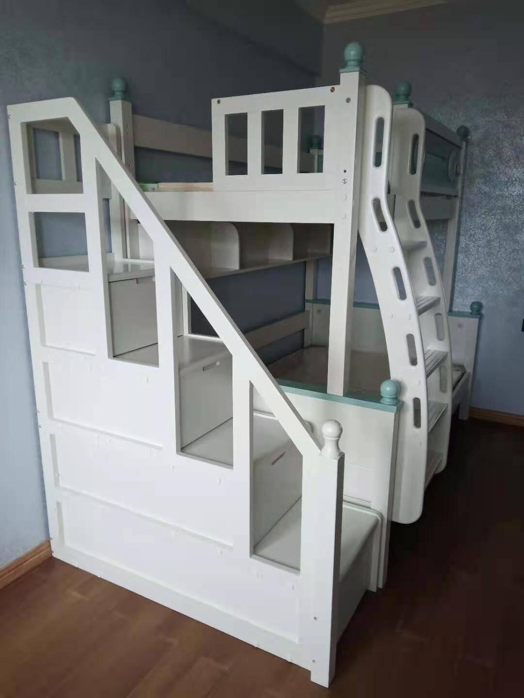 优陪全实木高低床上下床铺平行床子母床儿童家具1米1.2米1.35米1.5米上下同宽儿童床仅高低床(不含书架)上下铺同宽1米*2米可拆分为二
