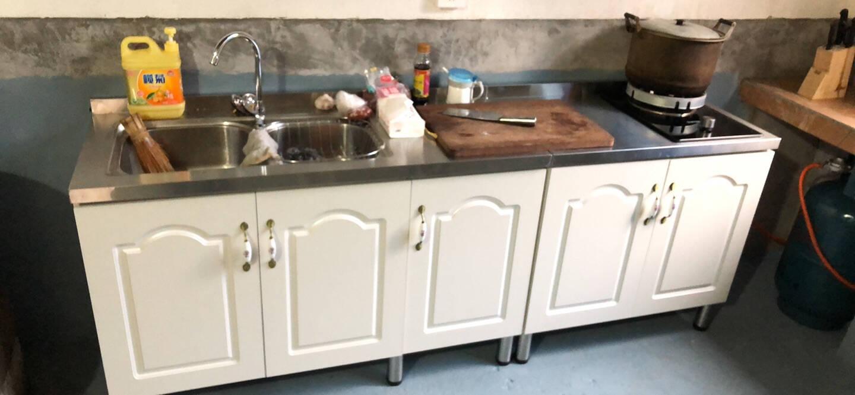 简易厨柜济型家用不锈钢灶台柜厨房整体组合装洗菜碗柜简约橱柜80cm单盆