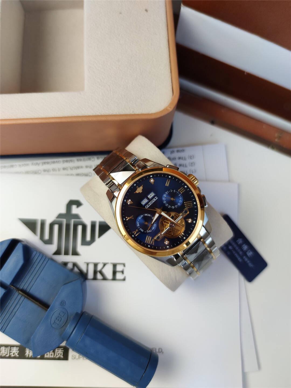 【瑞士认证】欧品客(OUPINKE)高端手表男士时尚商务多功能镂空钨钢防刮防水夜光全自动机械男表间蓝钢带
