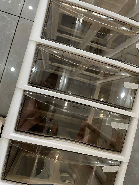 收纳柜抽屉式化妆品办公室文件收纳柜A4纸文件柜收纳盒书桌下文具塑料整理箱收纳架带轮多层资料架抽屉柜四层(带轮)