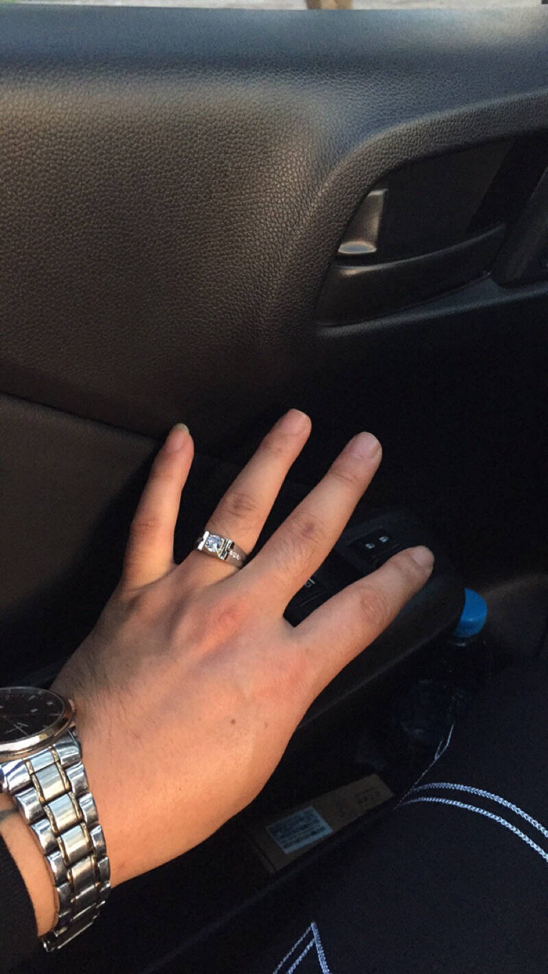 欧颜925银戒指男镀白金开口霸气潮男士仿真钻戒结婚礼物送男友老公生日礼物教师节礼物公爵开口戒(可调节大小)