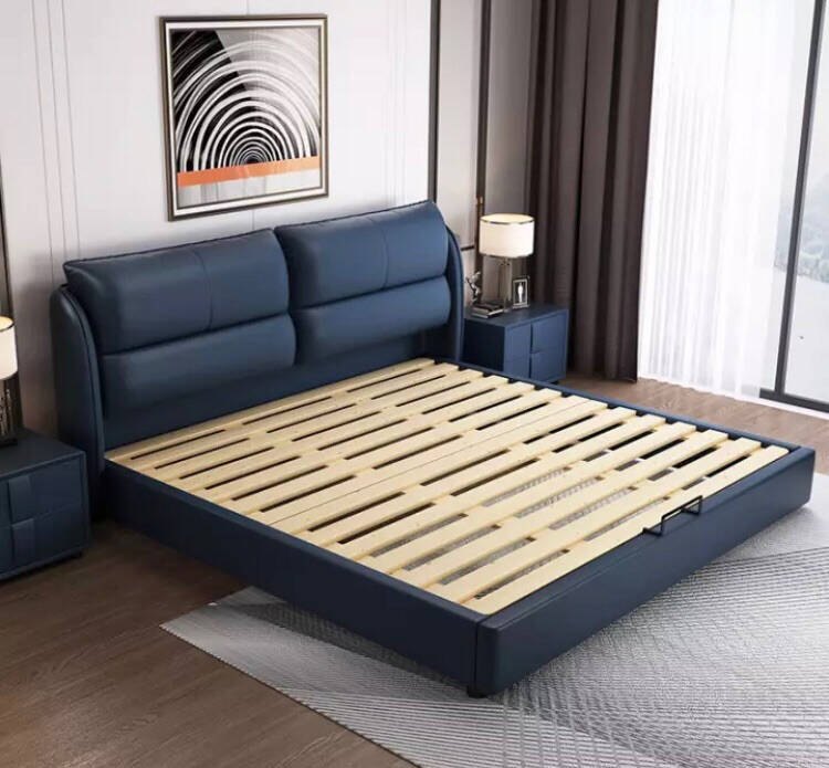 曲客(QUKE)床真皮床双人床1.5/1.8米实木框架现代简约北欧婚床皮艺床主卧室家具单床(颜色备注)1.5m/1.8米框架款