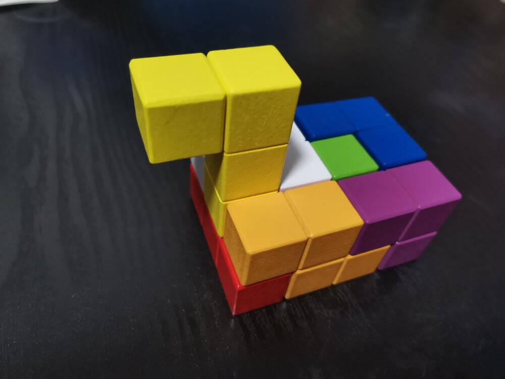 儿童益智索玛鲁班立方体积木玩具七巧板智力拼装两到3-6岁以上男孩4女孩5俄罗斯方块之谜小学生动脑开发立体七巧板(带说明书)