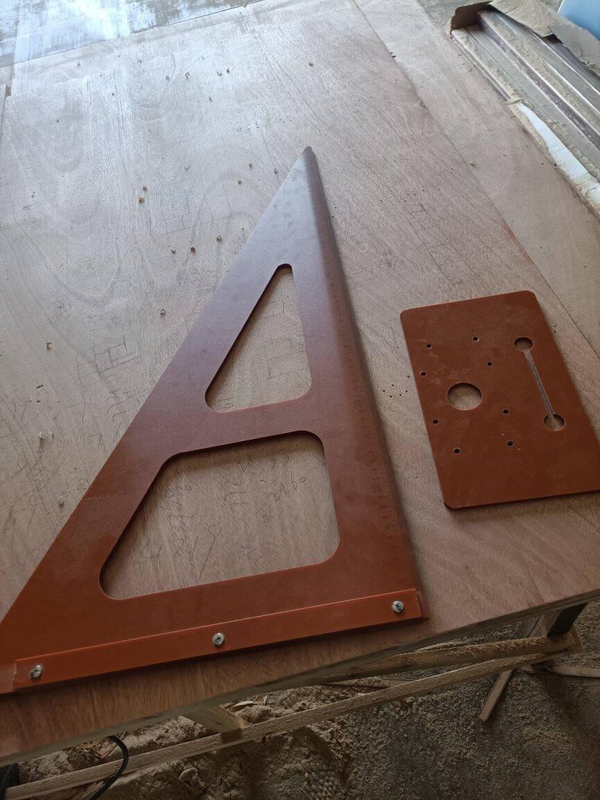 木工工具装修三角尺大号拐尺90度加厚直尺工业级高精度电木板方尺电木刻度底板裁版带刻度免打孔底板+360*600电木尺(A款)
