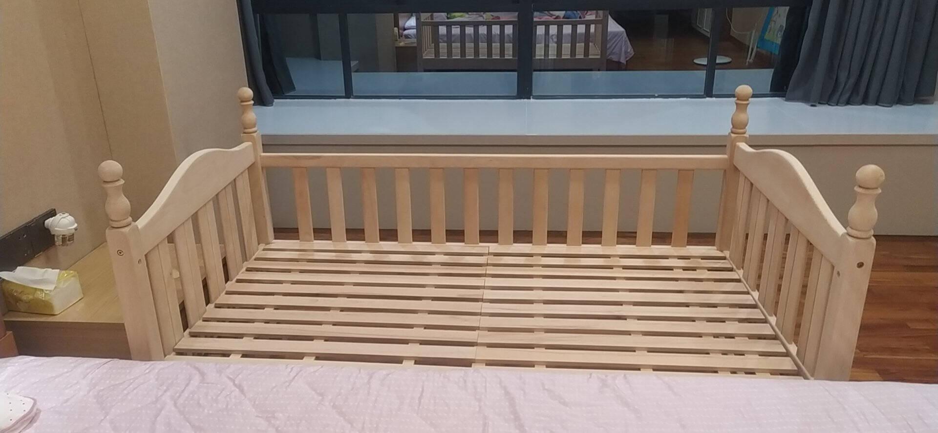 懒时光儿童床榉木儿童拼接床带护栏男孩女孩单人床加宽床实木小床拼接大床三面护栏+尾梯(原木色)150*70*40