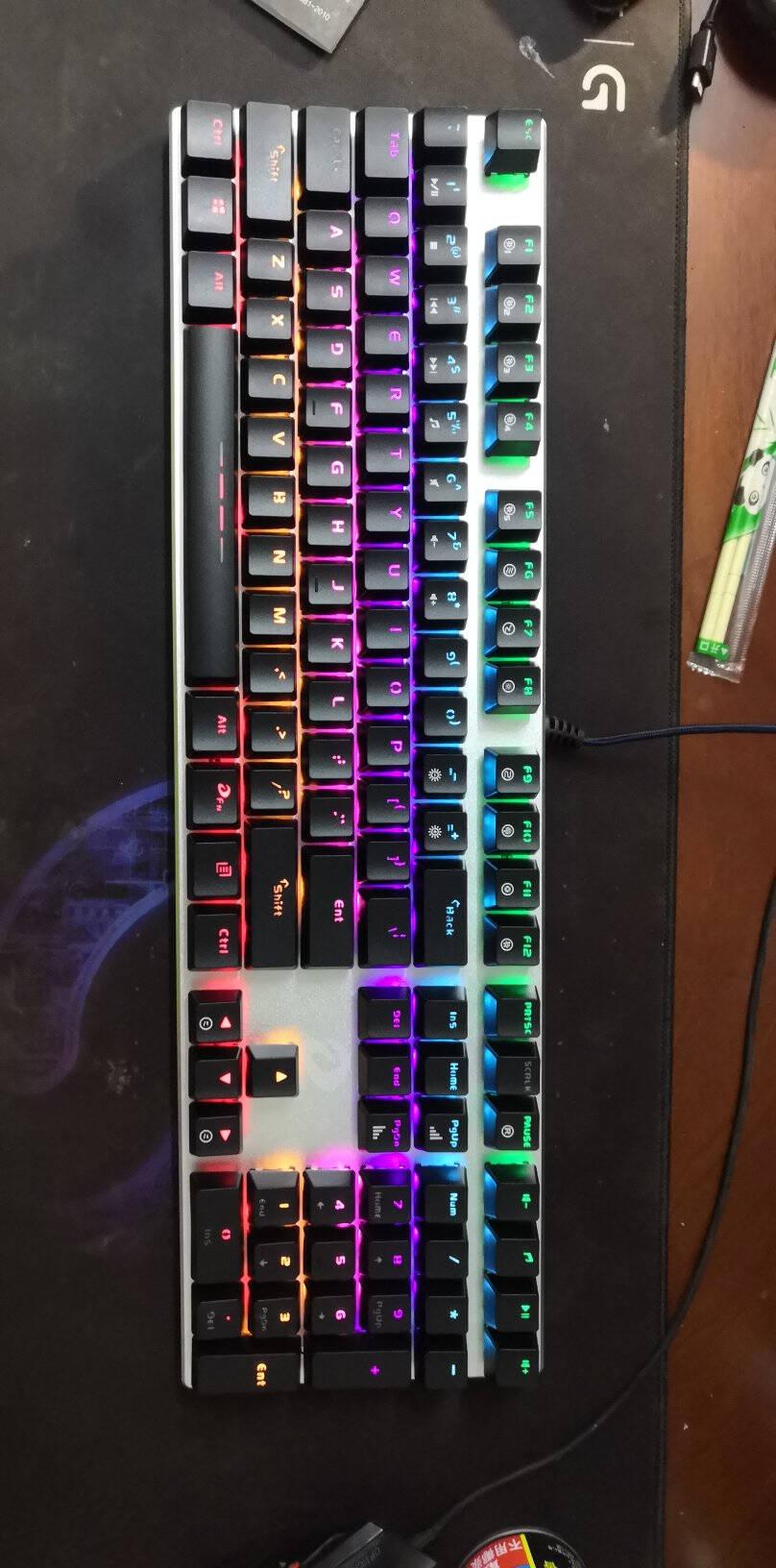 达尔优(dareu)机械师合金版机械键盘有线键盘游戏键盘108键混光全键无冲吃鸡键盘黑银黑轴