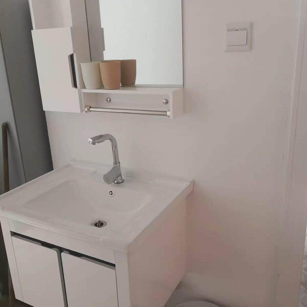 恋派[LIANPAI]浴室柜现代简约洗脸柜镜柜卫浴套装卫生间洗手盆洗脸盆柜组合洗漱台洗手台柜组合套装经典黑条60cm-含全套配件