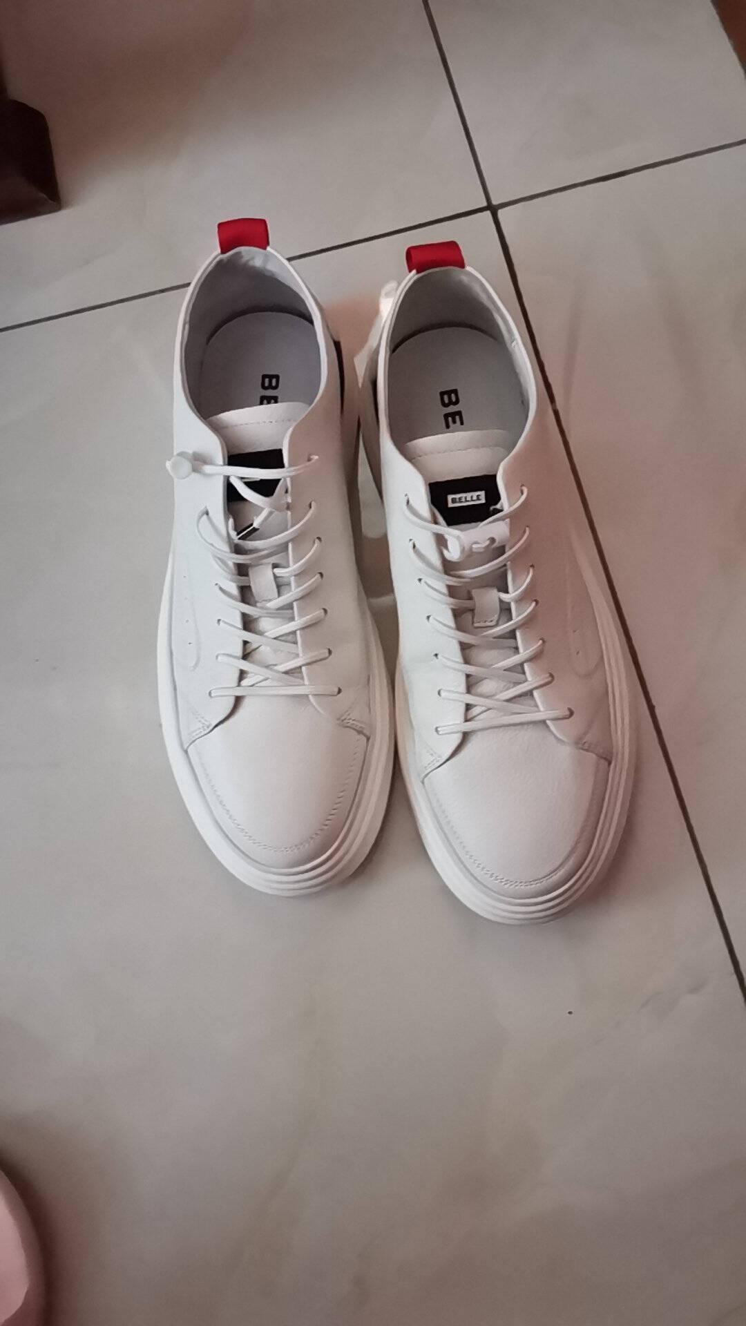 BELLE/百丽商场同款牛皮革男板鞋休闲鞋6VT01AM0黑色40