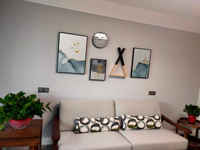 倍思家现代简约客厅装饰画沙发背景墙壁画大气北欧麋鹿抽象挂画组合金鹿迎福组合长1.9米(建议2-2.5米墙面)质感黑PS框