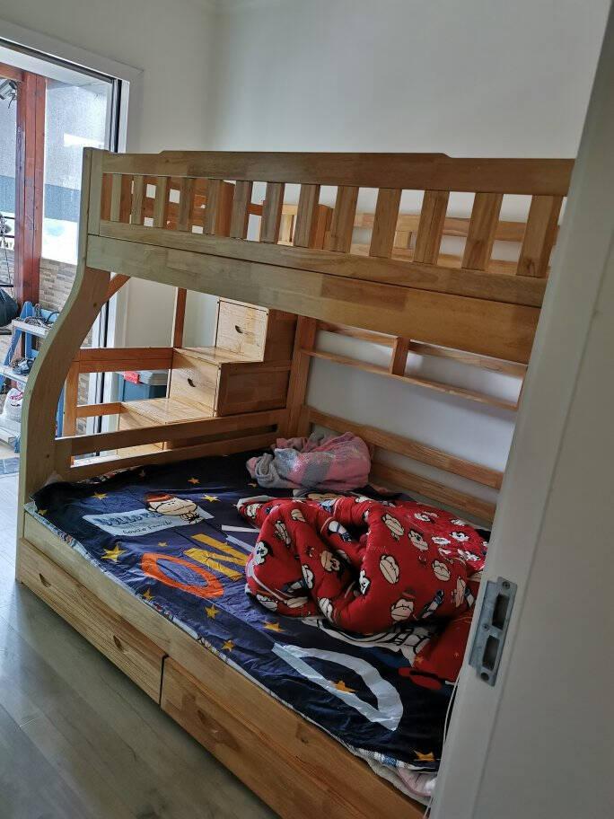 爱居乐榉木全实木儿童床美式高低床双层双人床上下床子母床男孩女孩公主床上下铺多功能上下铺成人母子床榉木梯柜款(多色可选)上铺宽130cm*下铺宽150cm
