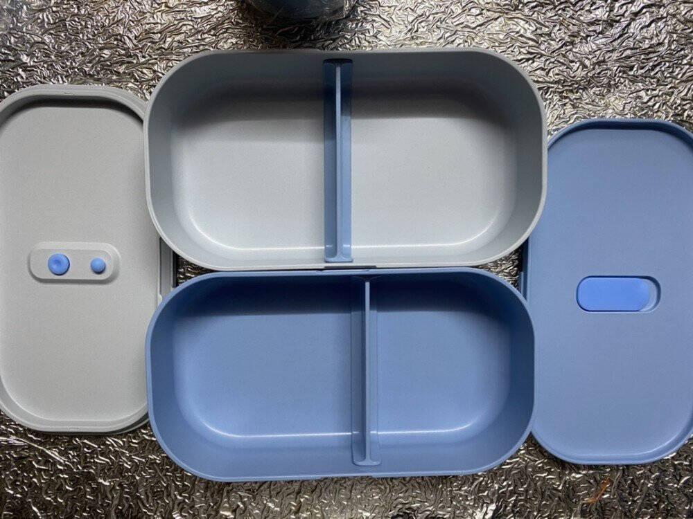 CAMUZ饭盒便当盒微波炉加热大容量学生日式分隔双层上班族减脂健身白色饭盒