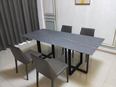 温斯丹尼餐桌意式极简岩板餐桌大理石餐桌椅家用长饭桌大小户型餐厅家具12111.4*0.8(碳素钢)单餐桌(岩板)