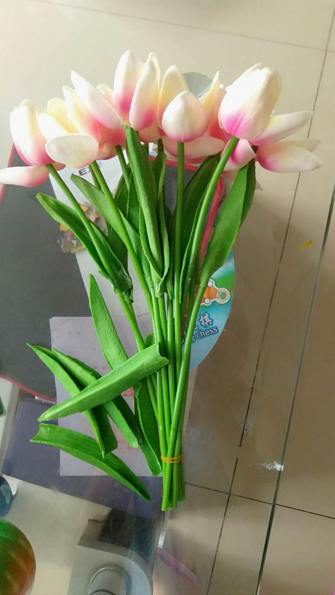 盛世泰堡仿真花假花束干花塑料绢花装饰花客厅插花摆件装饰郁金香10束装