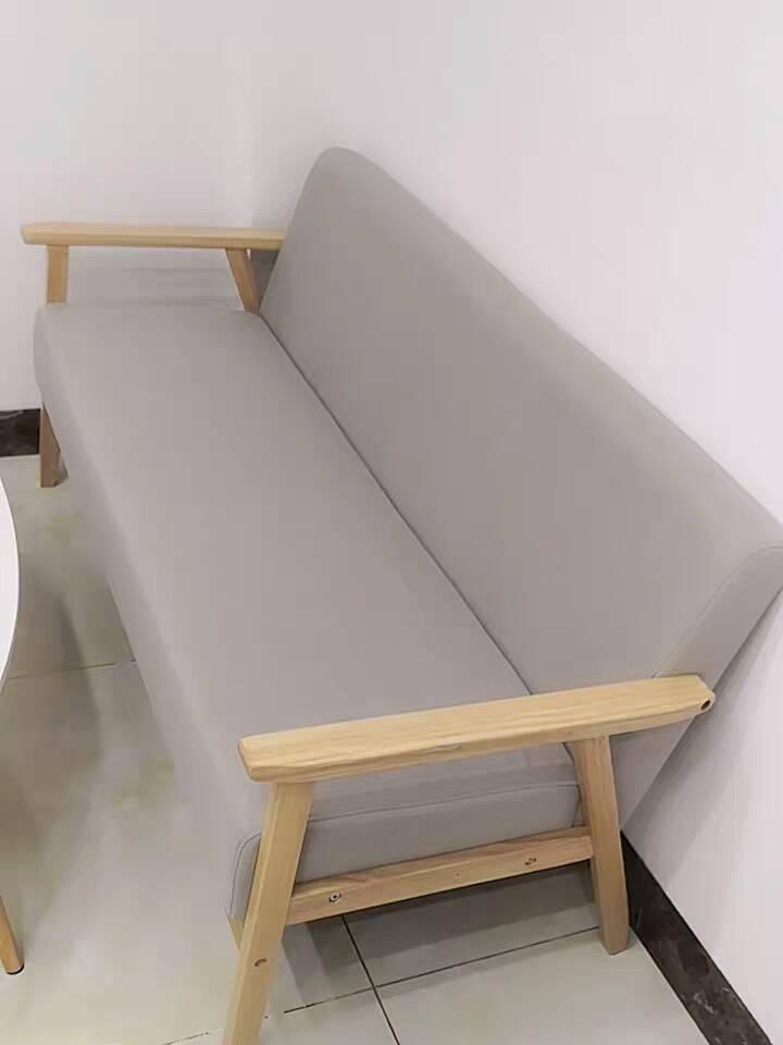 爱帛哆布艺沙发小户型北欧简约现代实木单双人三人位房客厅懒人沙发细麻米灰色单人65cm