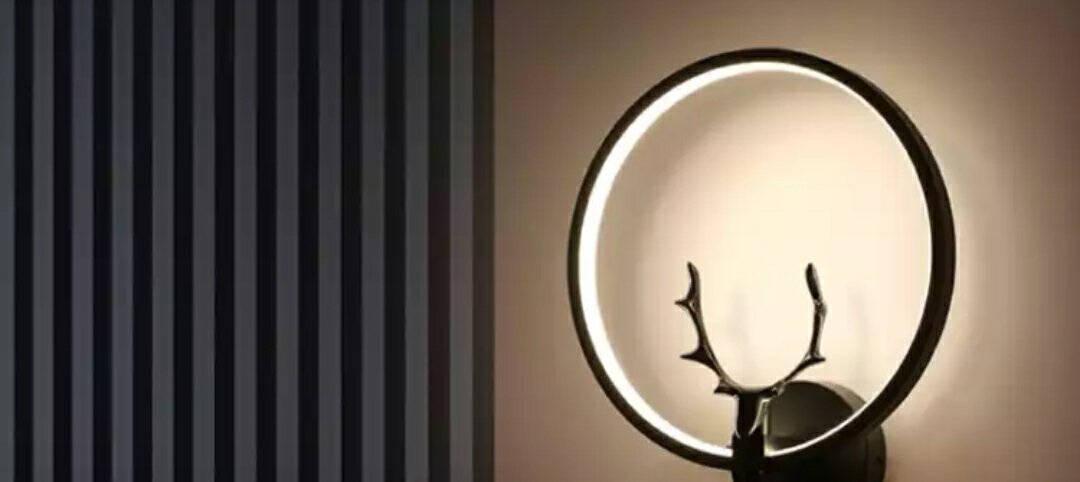 JUSHENG·炬胜现代北欧壁灯卧室客厅床头过道轻奢led简约个性创意背景墙灯B款黑色〖18W暖光〗