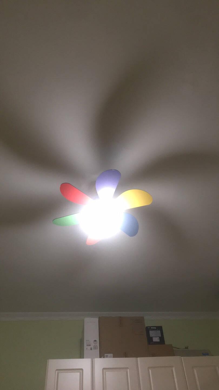 月影灯饰马卡龙风扇灯儿童房创意吊扇灯现代简约迷你卧室风扇吊灯30寸/适用于8-15平米/三色调光【FS86】