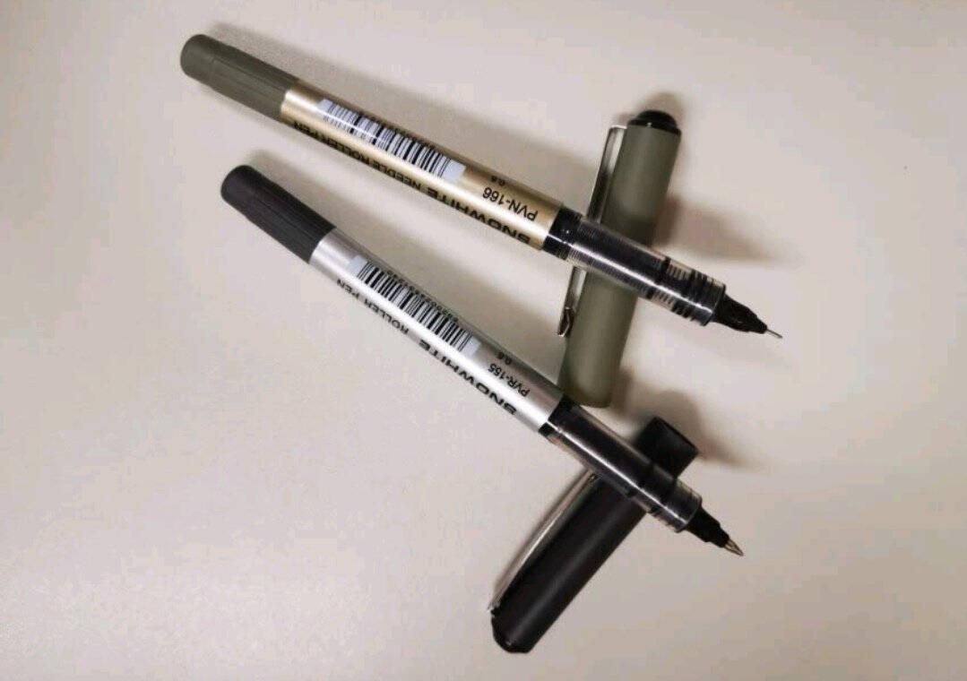 白雪(snowhite)PVR-155直液式走珠笔子弹型学生办公用中性笔签字笔考试专用笔巨能写0.5mm黑色12支/盒