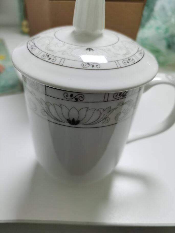 陶相惠茶杯陶瓷杯办公杯会议杯带盖10只装开会杯子商务会议水杯套装玉莲白色350ml