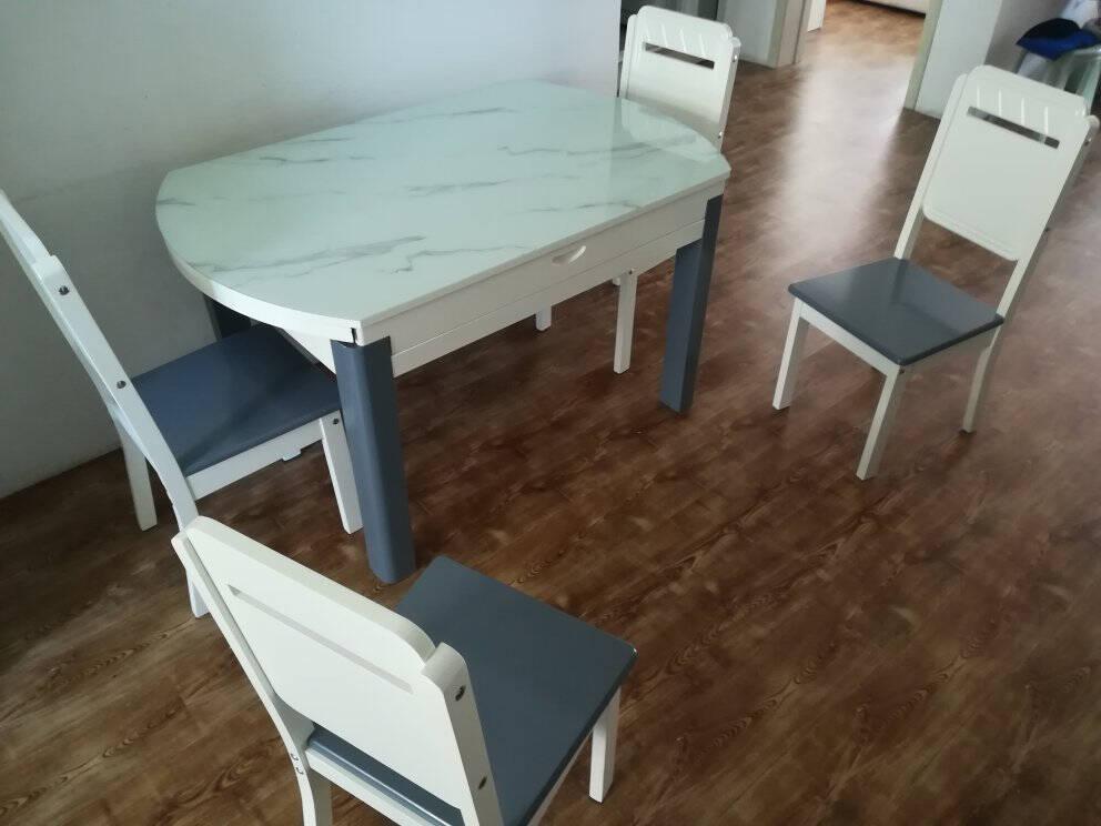 木韵美居餐桌现代实木餐桌可伸缩餐桌椅组合简约钢化玻璃长方形圆形餐厅吃饭桌子MYb-681#宝马灰色单餐桌(1.35米)