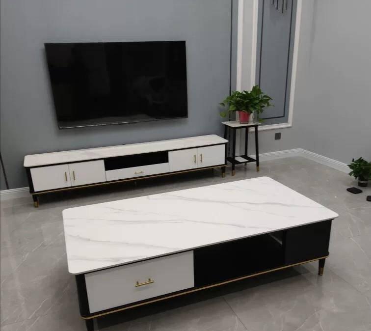 茶几电视柜组合现代简约客厅家用北欧大理石地柜轻奢岩板小户型电视柜:长160+茶几:长120整装