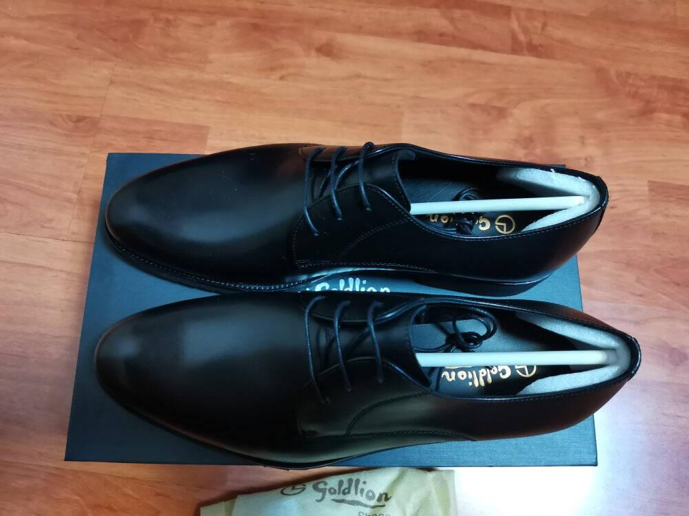 金利来(goldlion)男鞋商务正装休闲鞋简约柔软舒适德比皮鞋502740432AQQ-黑色-43码