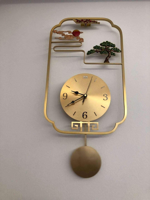 七秒(qimiao)珐琅彩福鹿钟表纯铜挂钟客厅新中式创意家用个性创意艺术挂墙时钟珐琅彩-迎客松纯铜挂钟