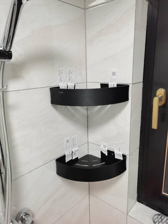 卡贝(cobbe)黑色毛巾架免打孔浴室置物架卫生间浴巾架太空铝五金卫浴挂件【哑光黑】六件套-8(加大厕纸盒)