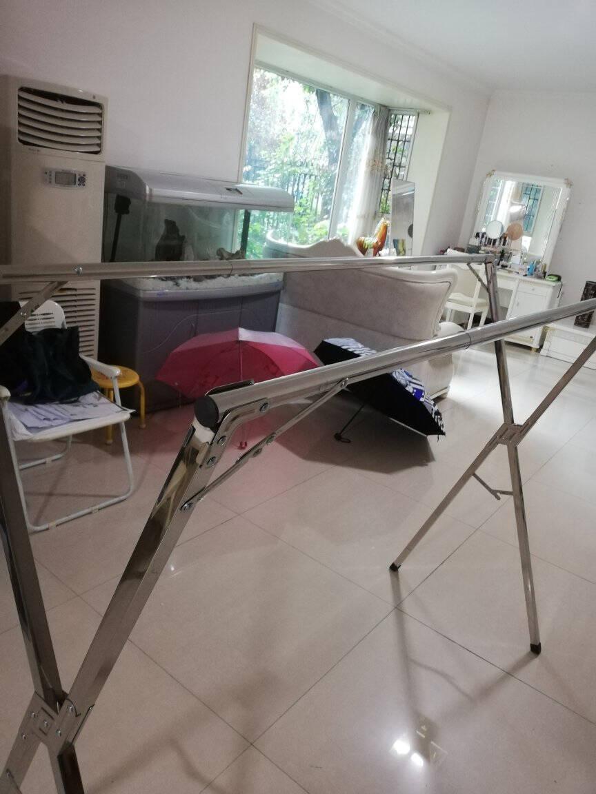 溢彩年华不锈钢晾衣架落地十秒折叠阳台室内晒衣架免安装伸缩晒被晾衣杆(三杆大号2.4米款)YCC4192