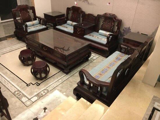 木恒盛红木家具印尼黑酸枝(学名:阔叶黄檀)至尊沙发全实木沙发古典中式实木沙发113组合7件套