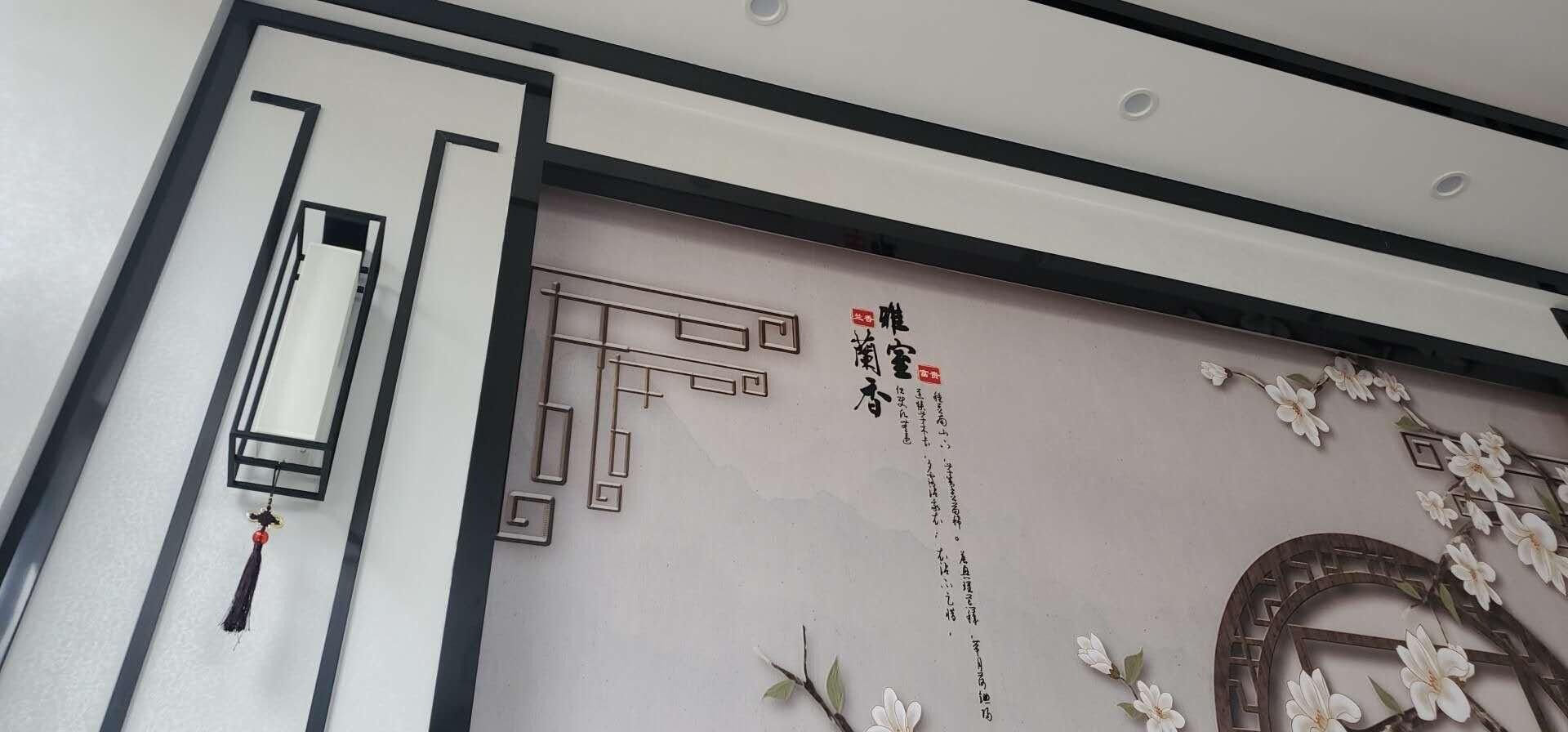 石匠人新中式壁灯创意客厅背景墙禅意卧室床头壁灯会所走廊玄关古典酒店过道灯黑色60cm