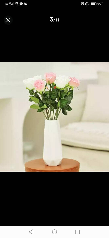 盛世泰堡花瓶北欧简约陶瓷满天星插花器皿客厅玄关餐厅电视柜装饰摆件素瓷白18cm