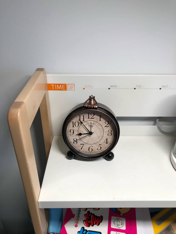迪高美式闹钟床头静音台式钟表复古欧式古典台钟客厅座钟摆件创意学生桌面钟无声电子摆放台表卧室时钟闹表黑色