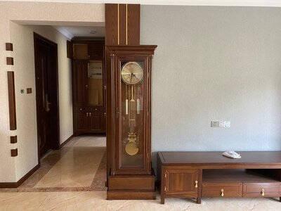 和兴胜立式钟表古典欧式落地钟客厅实木中式复古座钟纯铜机芯重锤摆钟红木色