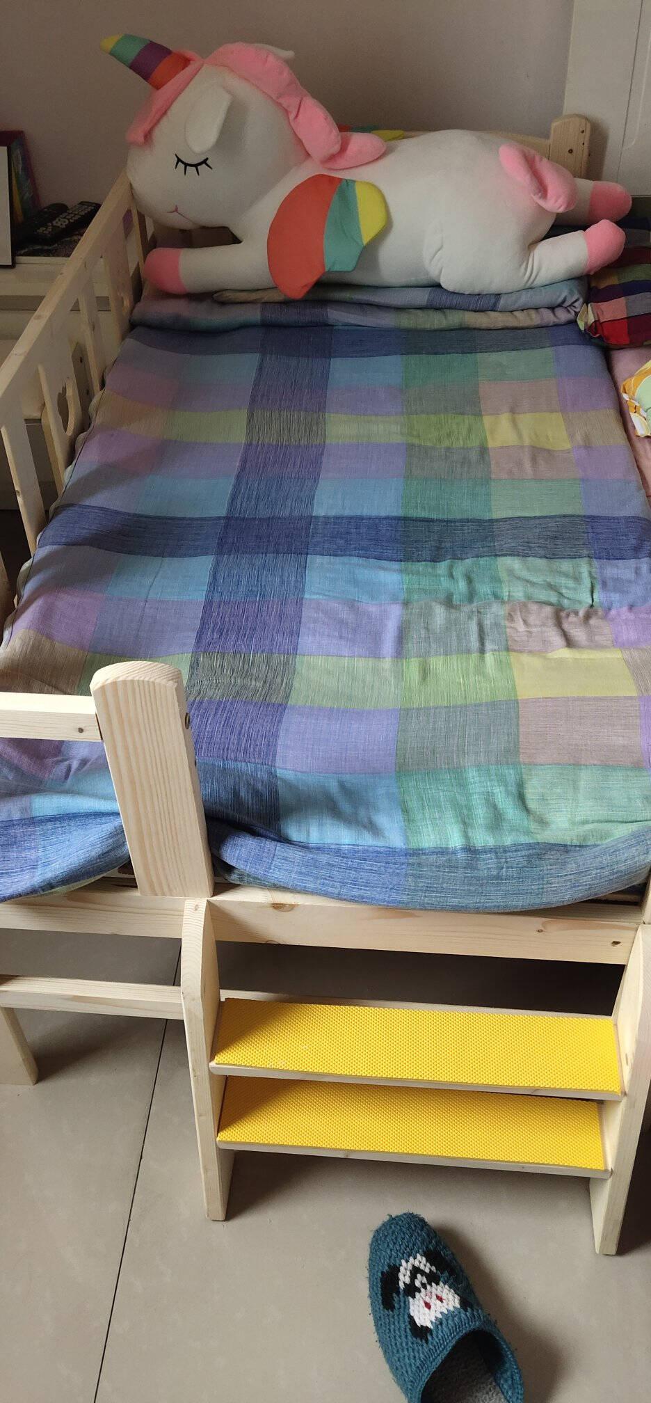 赛森儿童床带护栏单人床男孩女孩小床公主床婴儿床实木加宽床拼接床无油漆原木色边床150*80*40四面护栏+尾梯(单边护栏可拆卸)