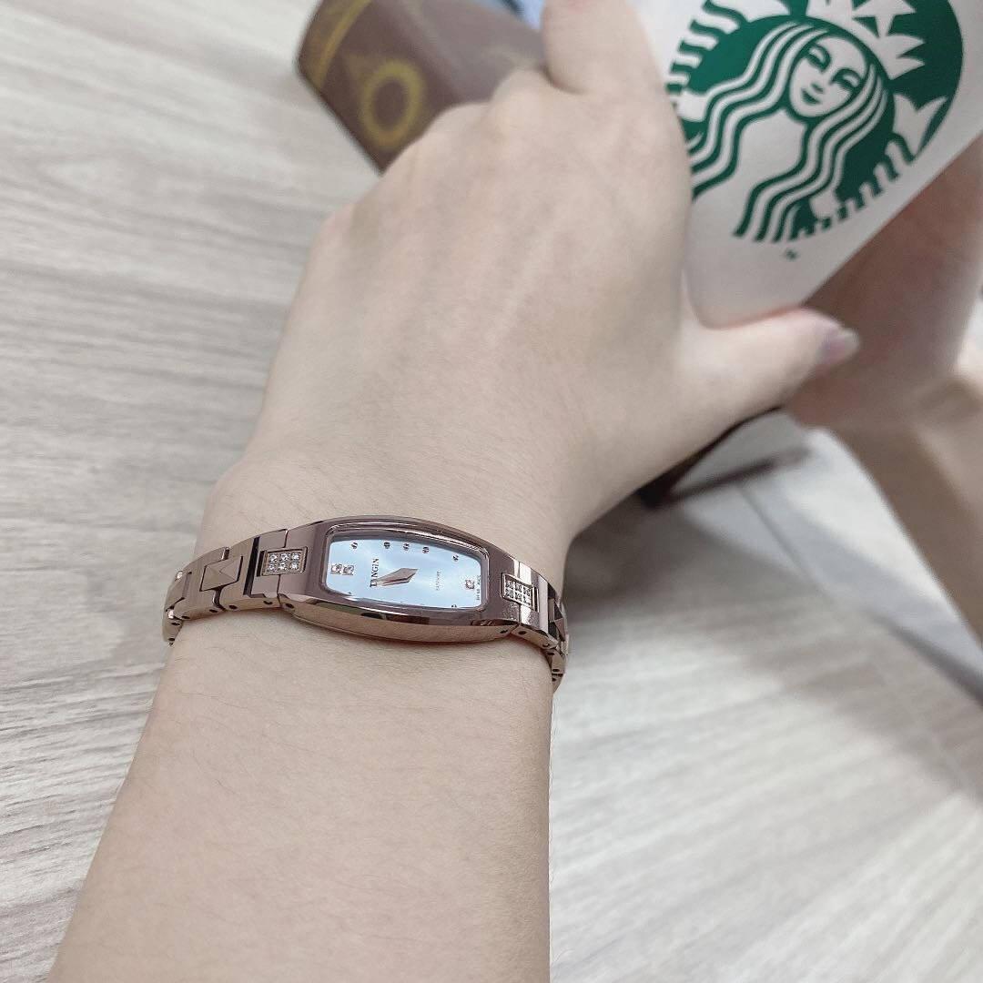 【6期免息】天珺(TANGIN)瑞士女士手表方形时尚石英表名媛小巧瑞表钨钢防水腕表5004【白盘-玫瑰金】-5004LHWHBA