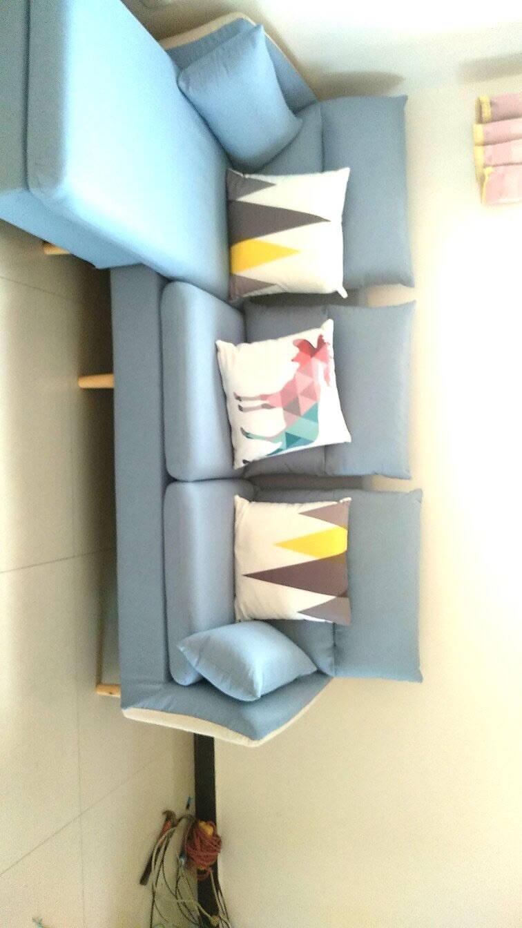 鲁菲特沙发小户型布艺沙发北欧客厅三人位懒人沙发日式简约可拆洗组合沙发lbs-819#浅蓝色大三人位+脚踏