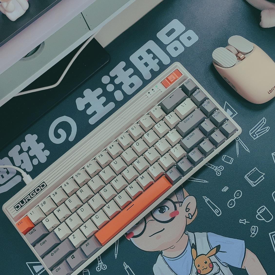 杜伽樱桃轴无线蓝牙键盘,68键复古小巧款