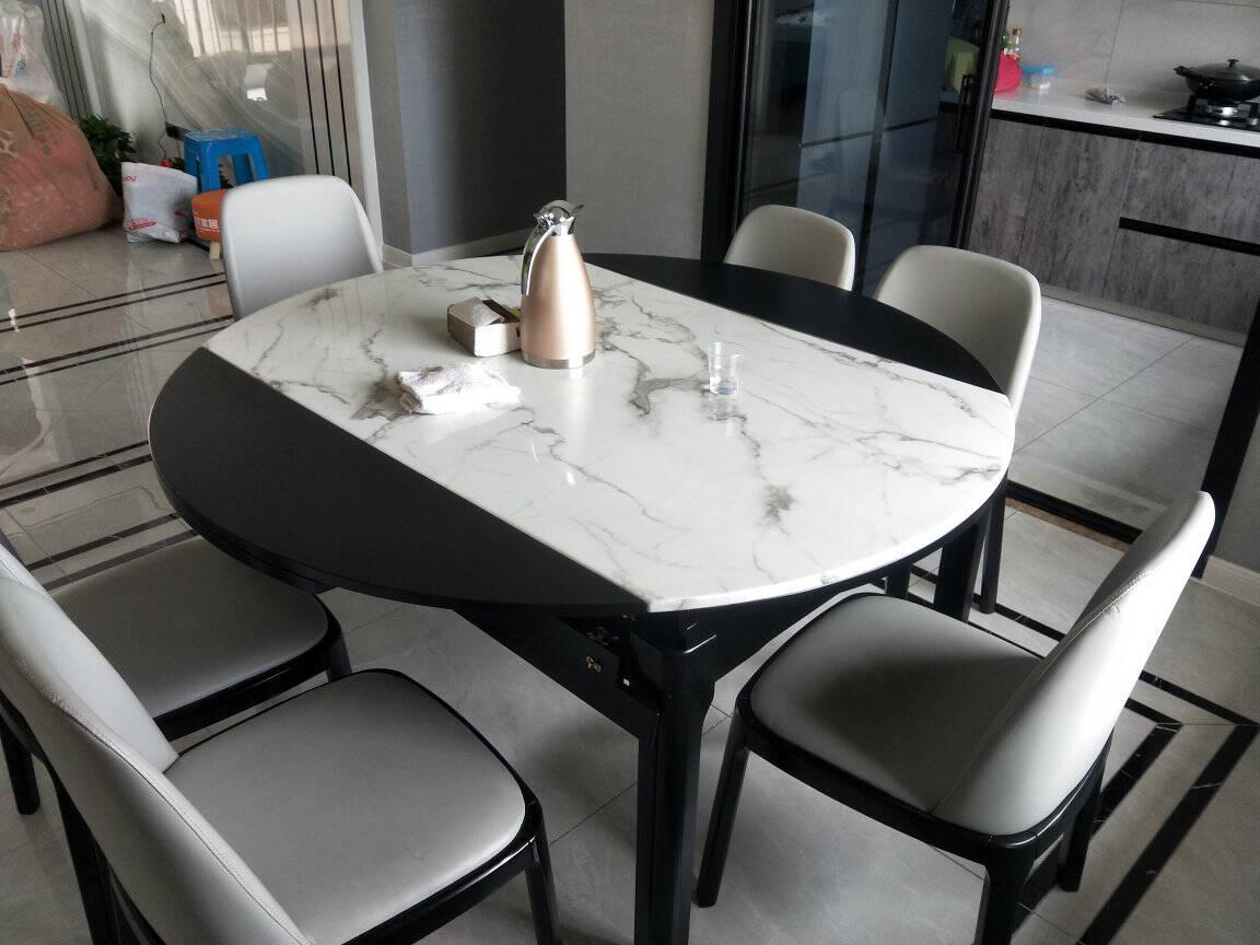 风之意餐桌简约现代大理石餐桌椅组合圆桌家用可伸缩折叠实木饭桌FR-916请联系客服备注颜色(牛角椅)1.5米一桌四椅