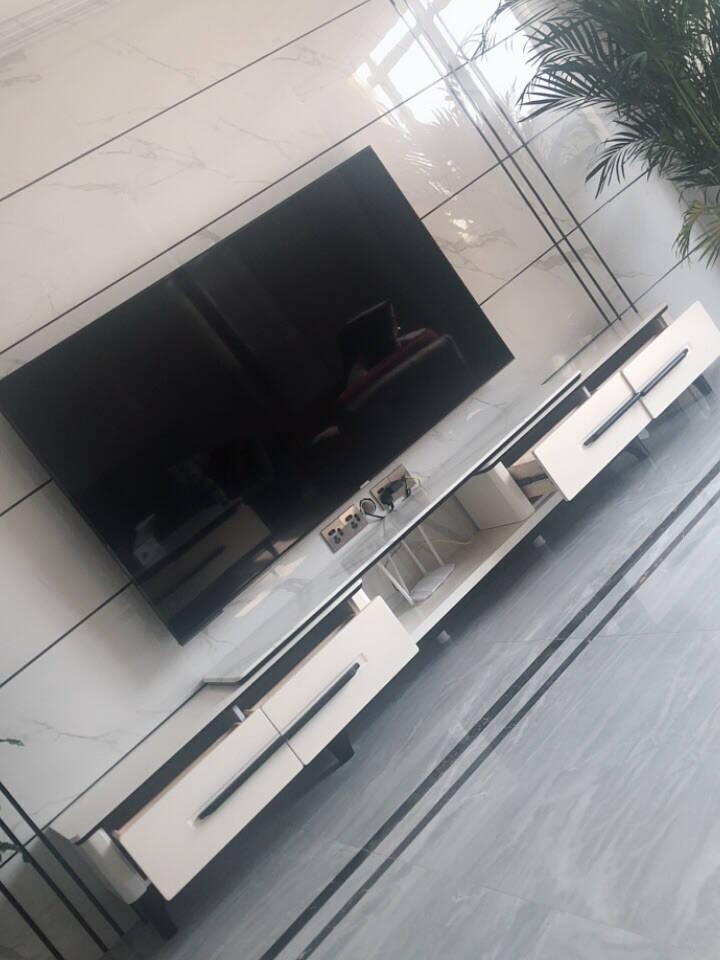 风之意电视柜大理石可伸缩电视柜现代简约茶几电视柜组合套装客厅家具8620-SL中花白大理石台面茶几电视柜组合+1.35米一桌6椅(103餐桌)
