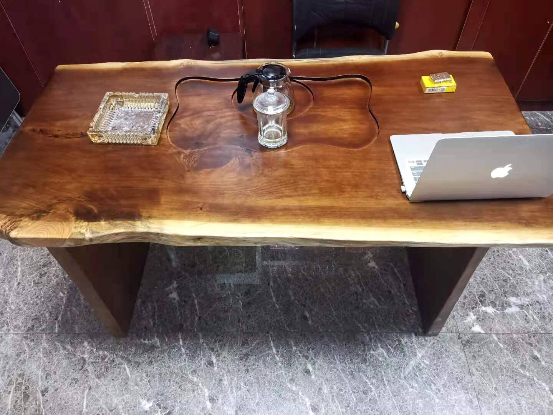 纳瓦斯新中式茶桌椅纯实木自然边现代简约家用客厅泡茶桌带茶盘公司接待洽谈办公室会客桌椅长条凳子单椅:实木官帽椅