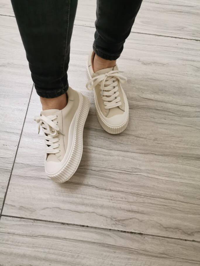 百丽张小斐同款小白鞋女帆布鞋女2021春商场同款饼干纹帆布鞋99112AM1【B】黑色37