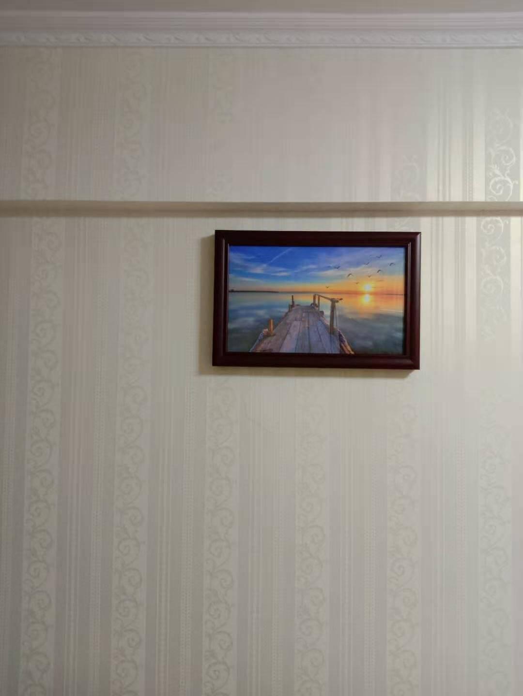 电表箱装饰画遮挡箱免打孔电闸盒家用推拉中式餐厅挂画配电箱壁画I-吉象-典雅红褐实木框60x40(可遮挡50x30以下)-向左推